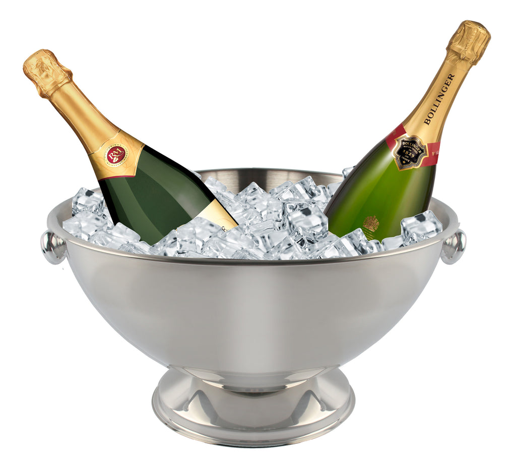 Stainless steel mirror finish champagne cooler with handles on stand