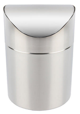 Stainless steel mirror finish mini flip top bin
