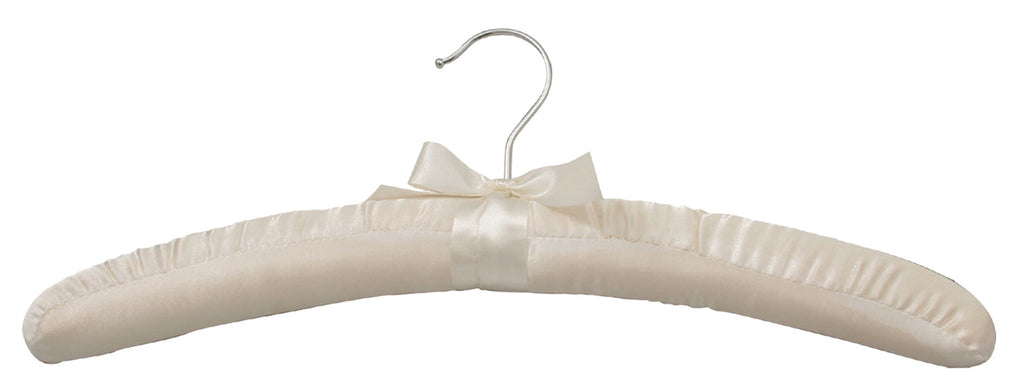 White satin padded hanger with silver hook (pack of 6)
