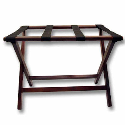Dark mahogany luggage rack with black straps