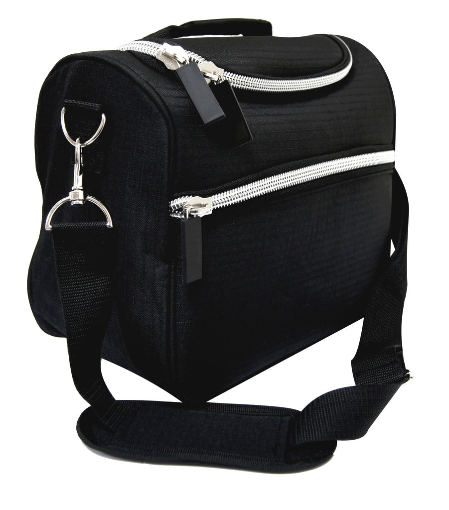 Black vanity bag with silver trim and strap