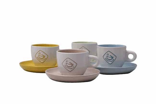 8pc colour espresso cup and saucer set in gift box
