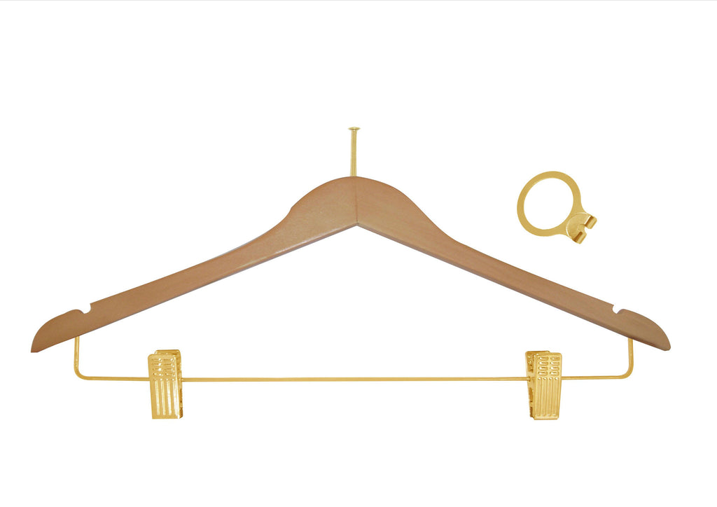 Natural anti-theft skirt hanger with clips and brass accessory