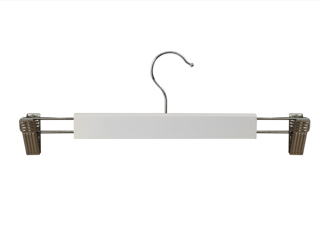 White Euro style hanger with silver clips and accessory