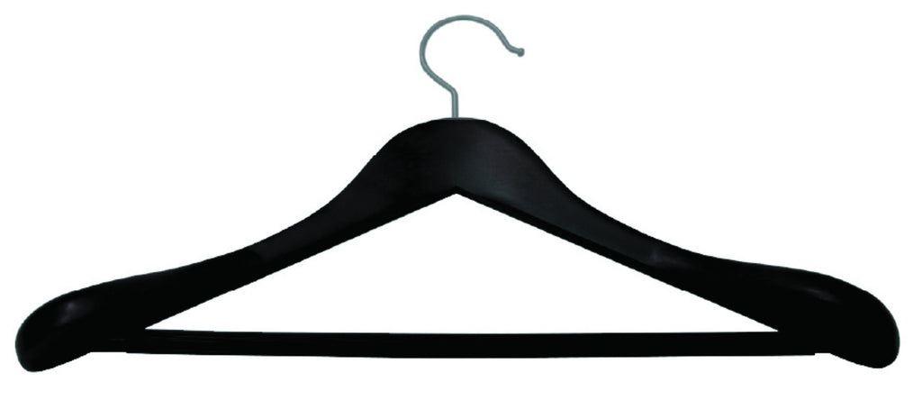 Mahogany matt finish deluxe shaped suit hanger with non-slip bar and silver accessory