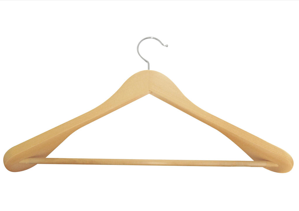 Natural matt finish deluxe shaped suit hanger with non-slip bar and silver accessory