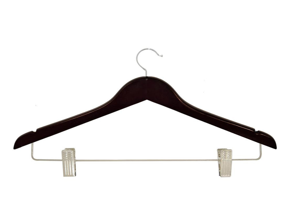 Mahogany skirt hanger with clips and silver accessory