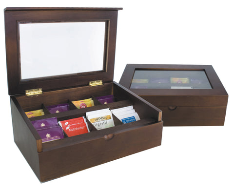 Mahogany deluxe tea chest (8 compartments) with glass lid