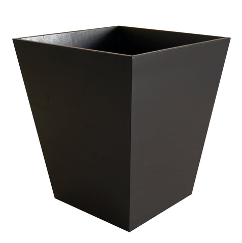 Dark wood waste paper bin