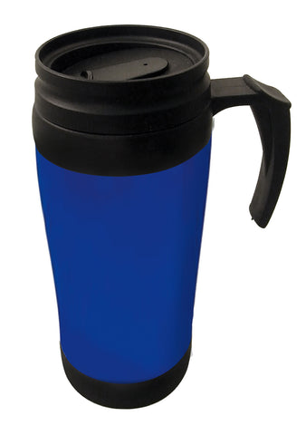 Blue double wall thermal mug with handle (400ml)