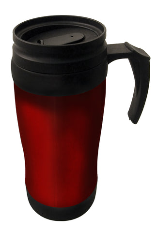 Red double wall thermal mug with handle (400ml)