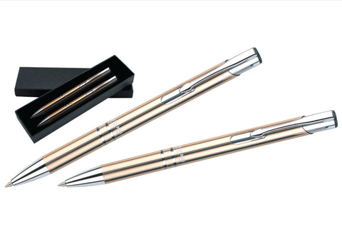 Light gold and silver ballpoint pen and pencil set 'technical' in presentation box