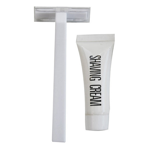 White shaving kit with 5gm shaving cream (razor-10cm)