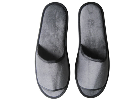 Dark grey velvet slippers (open toe) - (28.5cm)