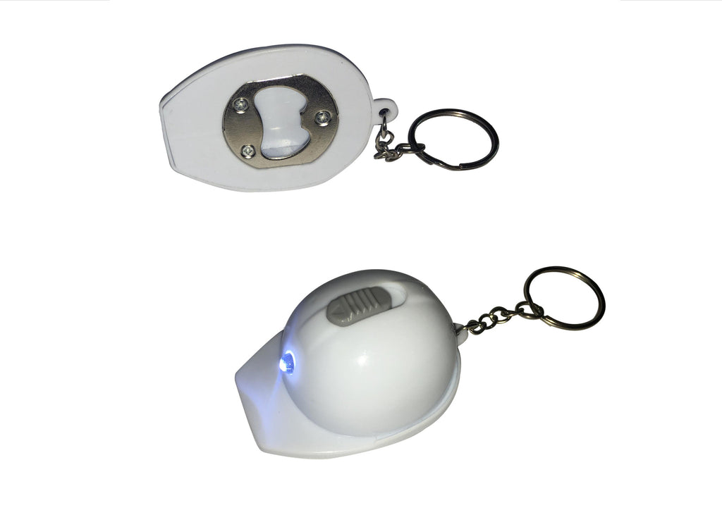 White helmet LED bottle opener keyring in white box