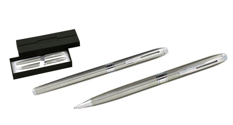Silver metal ballpoint and rollerball pen set 'opus' in presentation box