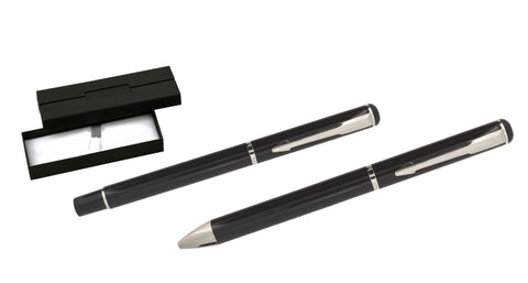 Black and silver ballpoint and rollerball pen set 'opal' in presentation box