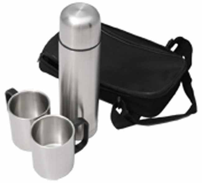 Matt stainless steel vacuum flask with 2 double wall mugs in nylon bag with strap in box