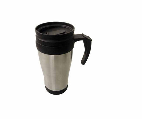 Matt stainless steel double wall thermal mug with handle (400ml)