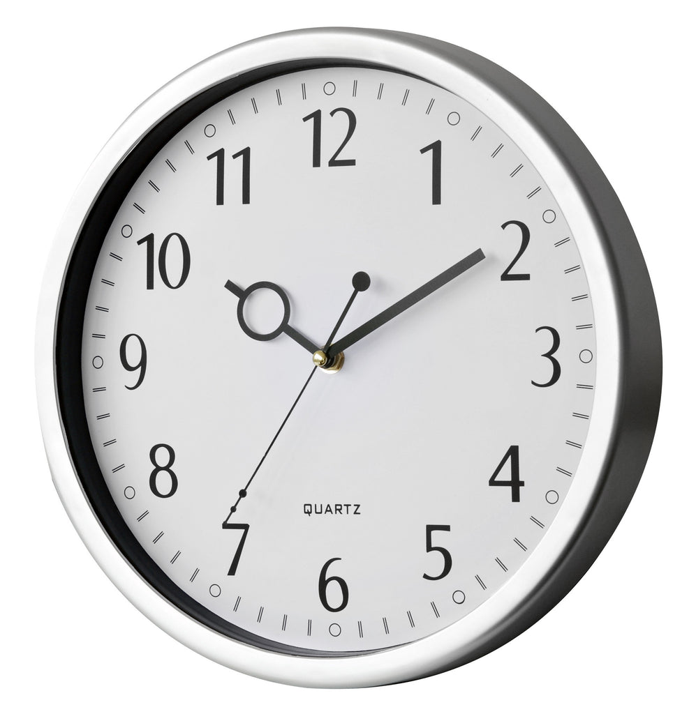 Silver wall clock with sweep movement (30cm)