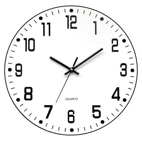 Black and white 'open face' (no glass) wall clock (35cm)