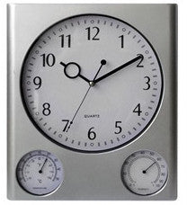 Silver weather station wall clock