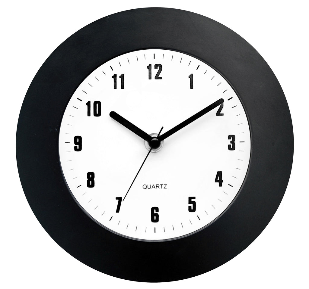 Black clock suitable for wall or desktop use (19cm)