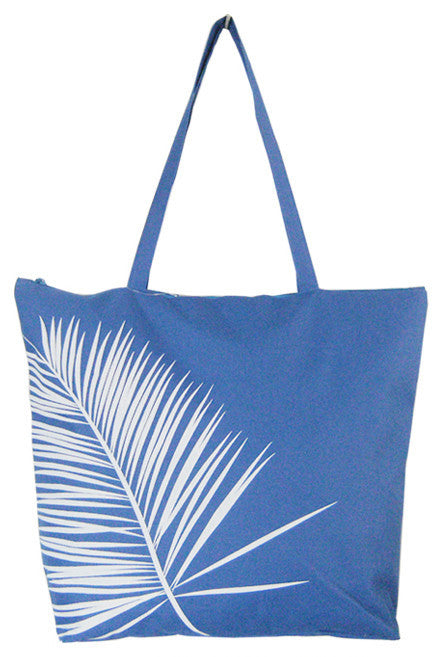 Dark blue shopping/beach bag with white leaf print and velcro strap