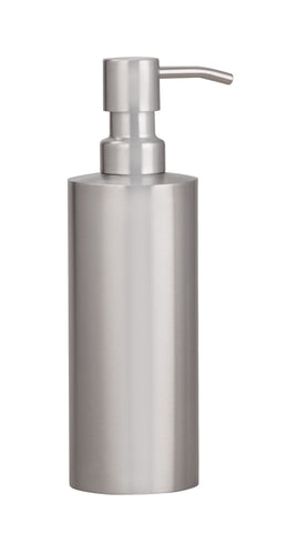 Stainless steel 'matt' finish liquid soap dispenser with stainless steel pump