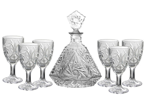 7pc clear glass decanter set with 6 wine glasses