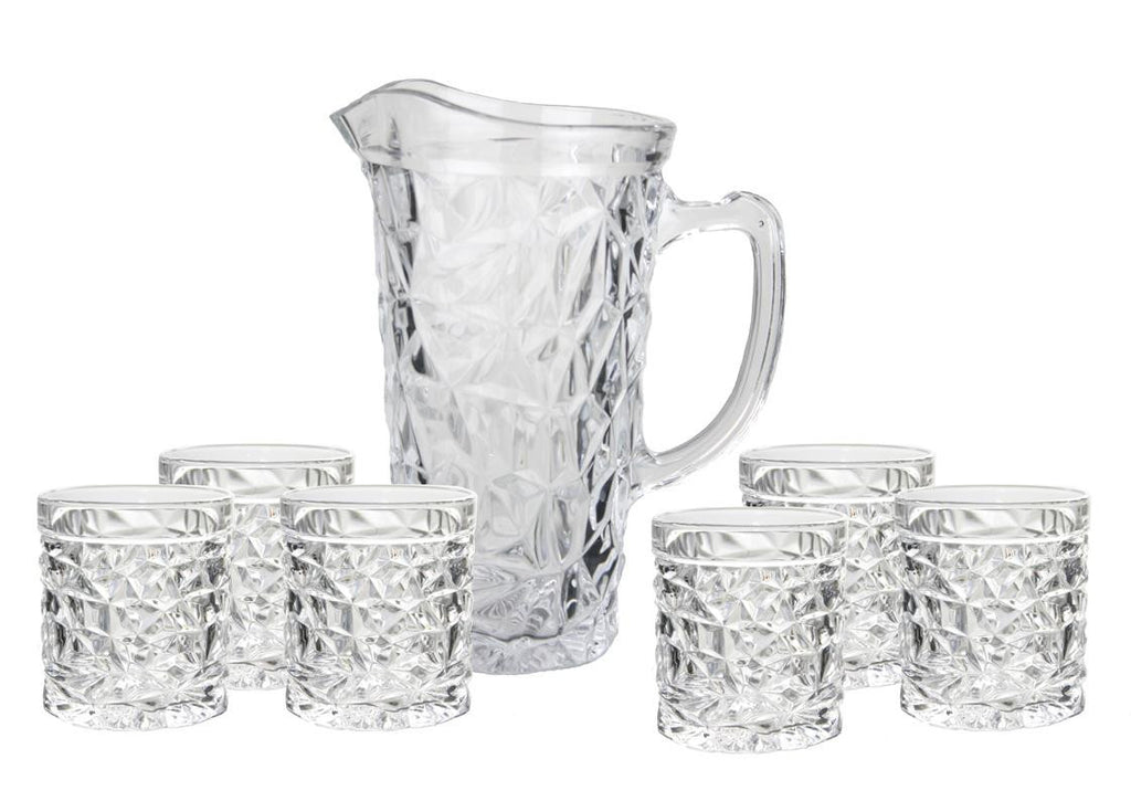 7pc 'ice pattern' jug set with 6 matching glasses