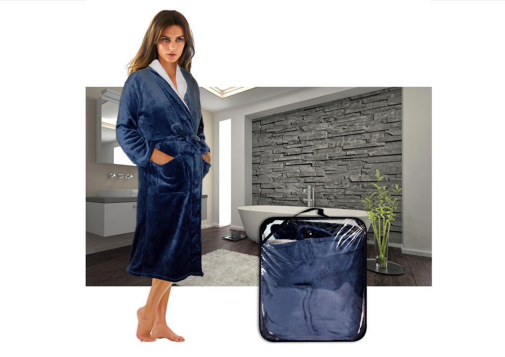 Blue with white collar plush micro fiber bathrobe  (280g)