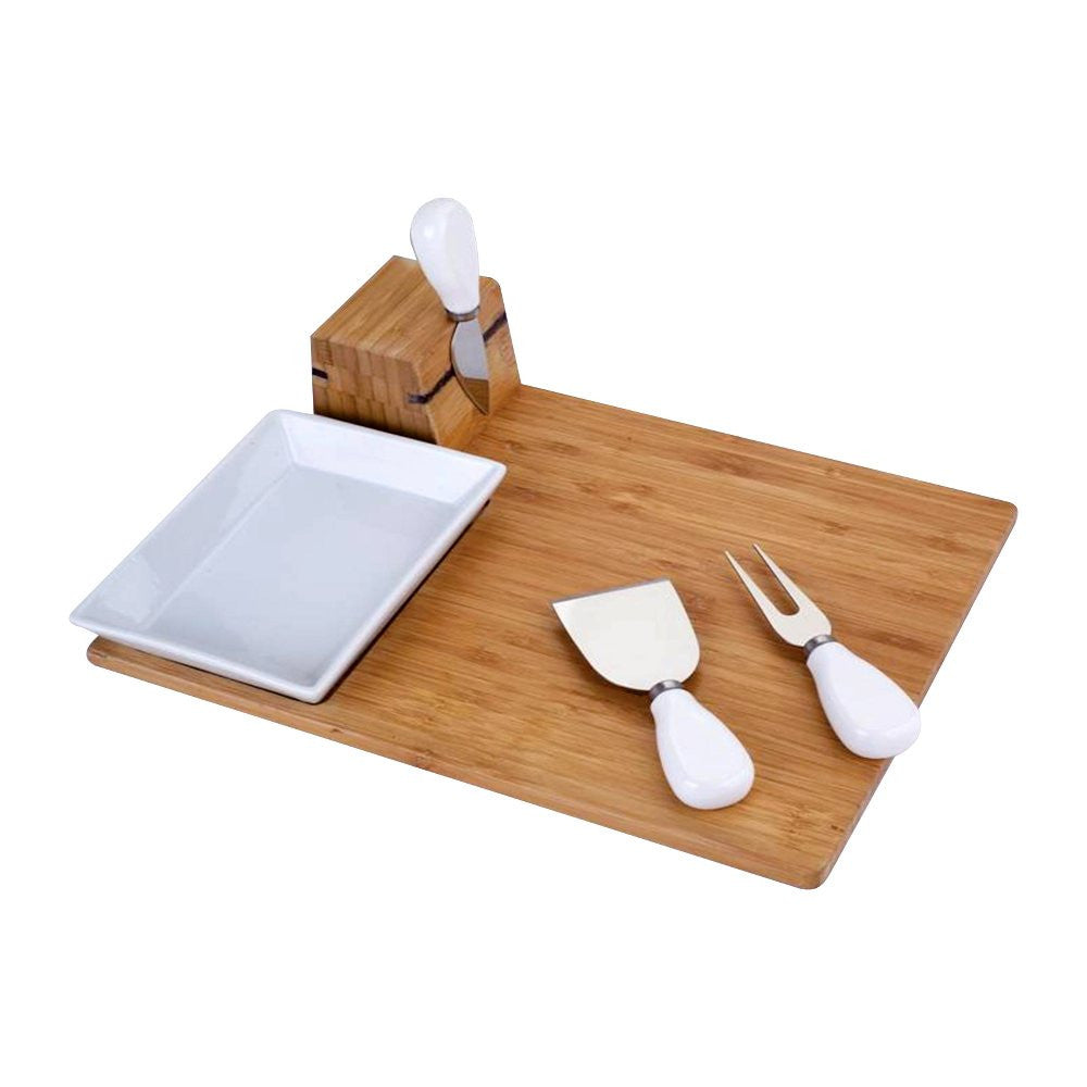 5pc bamboo and ceramic cheese board set