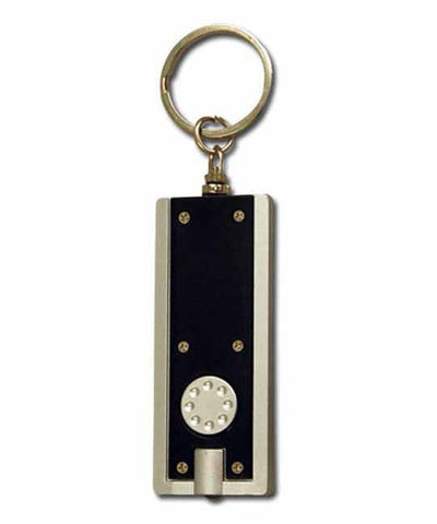 Black and silver LED torch keyring 'flat'