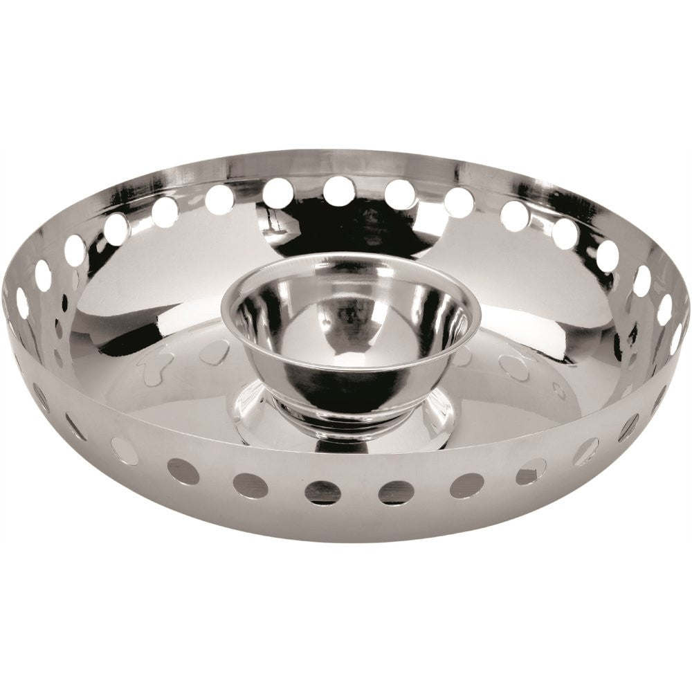 Stainless steel chip & dip with removable sauce bowl