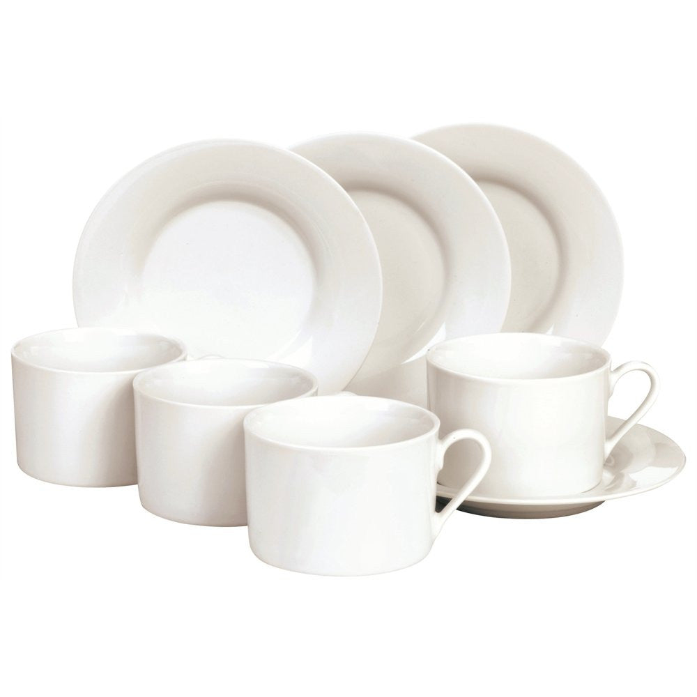 8pc white cup and saucer set in gift box