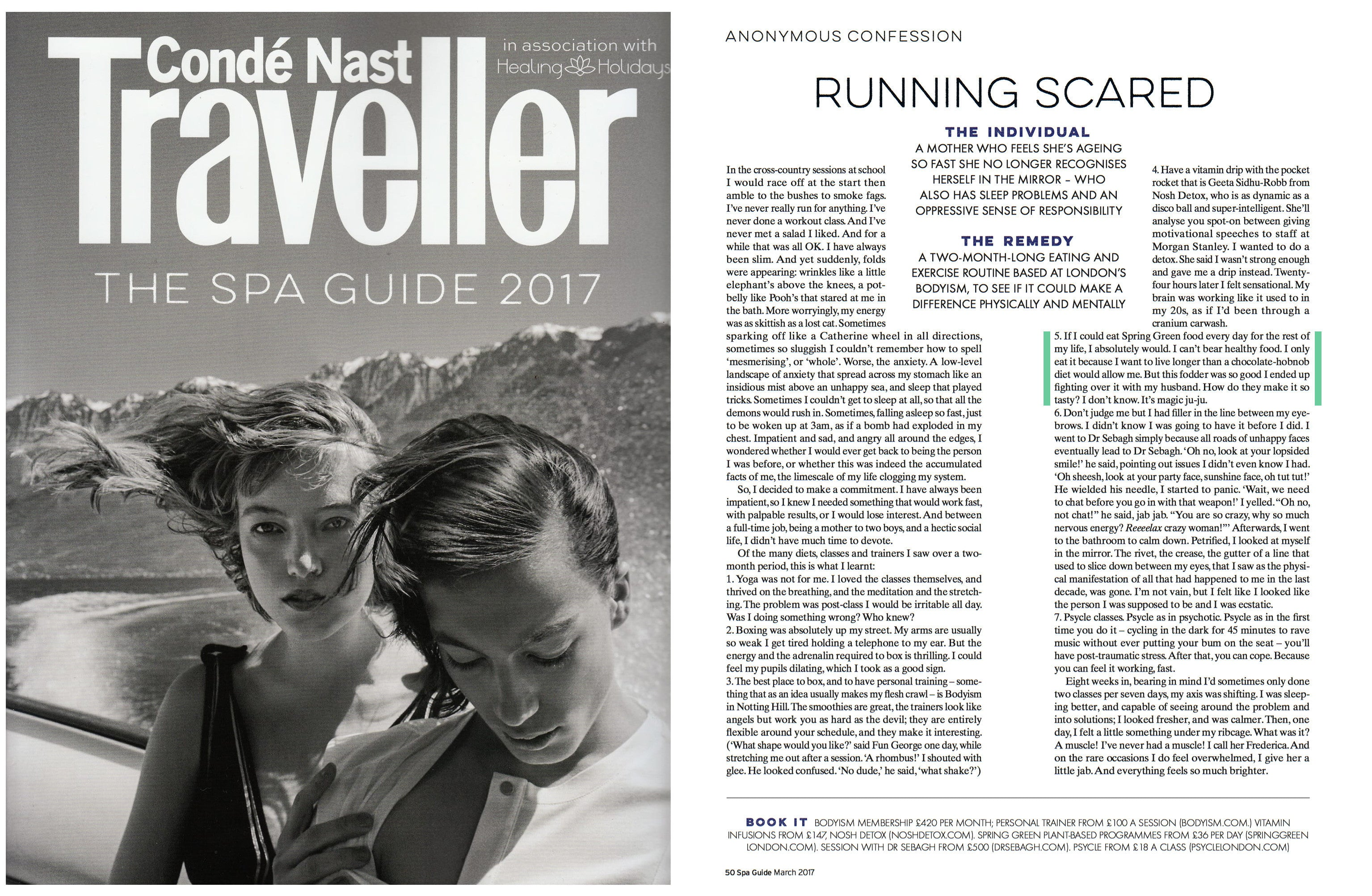 Conde Nast Traveler Spa Guide 2017 featuring Spring Green London