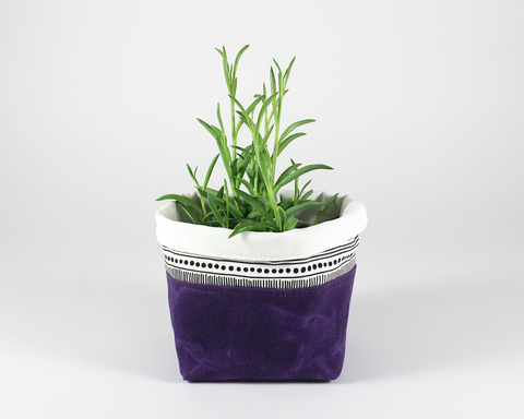 Purple Waxed Canvas Mini Fabric Basket, Plant Basket | Madi May Design