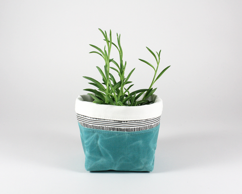 Blue Waxed Canvas Mini Fabric Basket, Plant Basket | Madi May Design