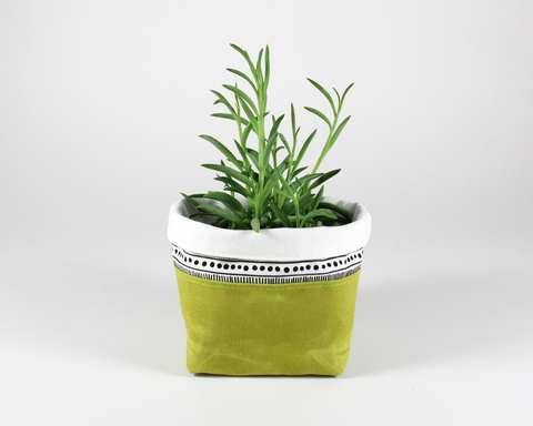 Green Waxed Canvas Mini Fabric Basket, Plant Basket | Madi May Design