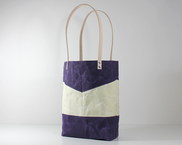 Purple Waxed Canvas Tote Bag, Side View | Madi May Design