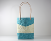 Blue Waxed Canvas Tote Bag, Front View | Madi May Design