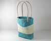 Blue Waxed Canvas Tote Bag, Side View | Madi May Design