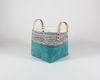 Aqua Waxed Canvas Fabric Basket