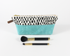 Aqua + Speckle Dot Cosmetic Bag Set