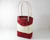 Red Waxed Canvas Tote Bag, Side View | Madi May Design