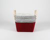 Cherry Red Waxed Canvas Fabric Basket