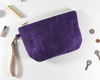 Purple Waxed Canvas Purse, Clutch Wristlet, Handbag, Top View | Madi May Design