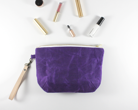 Purple Waxed Canvas Purse with Accessories | Madi May Design