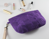 Purple Waxed Canvas Purse, Clutch Wristlet, Handbag, Angled View | Madi May Design